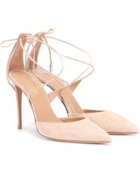 Aquazzura Very Matilde 105 Suede Pumps - Pink