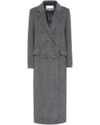 Ganni Abrigo en mezcla de lana de cuadros - Gris