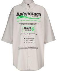 Balenciaga Camisa extragrande popelín algodón print - Gris