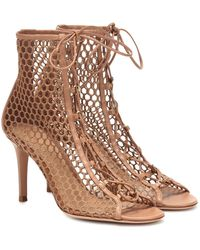 Gianvito Rossi Helena Leather-trimmed Ankle Boots - Brown