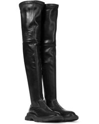 Alexander McQueen Botas mosqueteras Tread de piel - Negro