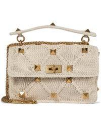 Valentino Garavani Roman Stud Crochet Shoulder Bag - Natural