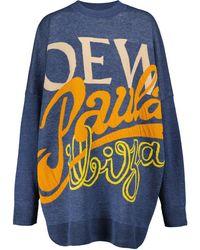 Loewe Paula's Ibiza Logo Linen-blend Sweater Dress - Blue