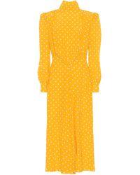 Alessandra Rich Polka-dot Silk Turtleneck Dress - Yellow
