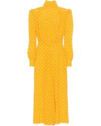 Alessandra Rich Robe longue en soie à pois - Jaune
