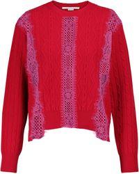 Stella McCartney Pullover aus Schurwolle mit Spitze - Rot