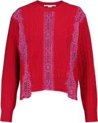 Stella McCartney Lace-trimmed Wool Sweater - Red