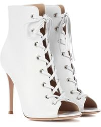 Gianvito Rossi Marie Peep-toe Leather Ankle Boots - White