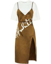 Off-White c/o Virgil Abloh - Minikleid aus Satin und Jersey - Lyst
