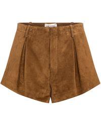 Saint Laurent Shorts aus Veloursleder - Mehrfarbig