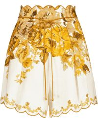 Zimmermann Shorts Aliane de lino floral - Amarillo
