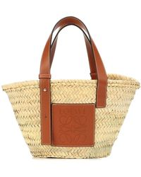 Loewe Shopper Small in foglie di palma e pelle - Multicolore