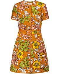 Tory Burch Vestido corto de sarga floral - Naranja