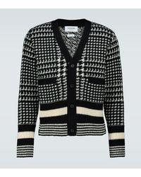 Thom Browne Cardigan à carreaux en laine - Noir