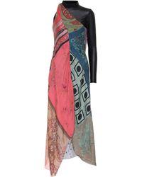 Marine Serre - Printed Silk One-shoulder Dress - Lyst