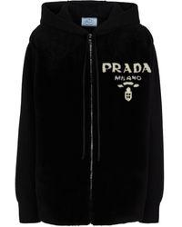 Prada Sweat-shirt à capuche en cachemire et shearling - Noir