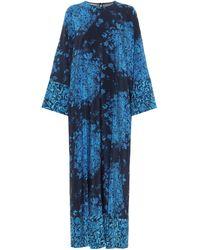 Valentino Printed Crêpe De Chine Midi Dress - Blue
