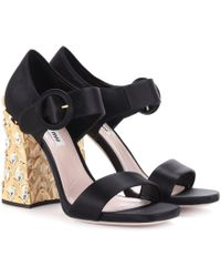 9e11f4da077 Lyst - Miu Miu Satin Crystal-buckle Pineapple-heel Sandal in Black