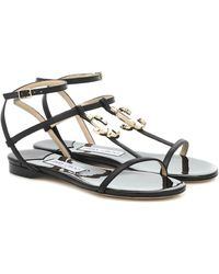 Jimmy Choo - Alodie Leather Sandals - Lyst