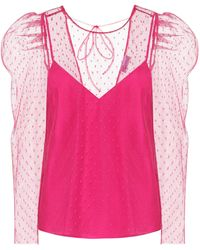 RED Valentino Point D'esprit Top - Pink