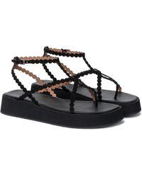 Alaïa Suede Platform Sandals - Black
