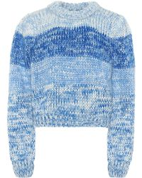 Ganni Julliard Mohair Chunky Knit Sweater - Blue
