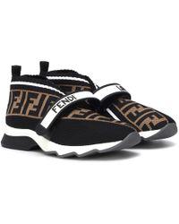 Fendi Rockoko Knit Sneakers - Brown