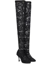 Dolce & Gabbana Lace Over-the-knee Boots - Black