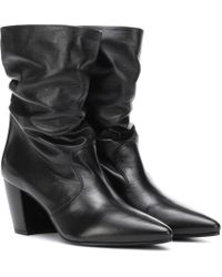 Prada Slouched Leather Ankle Boots - Black