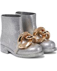JW Anderson Stivaletti in gomma con glitter - Metallizzato