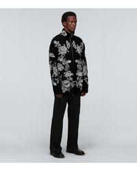 Valentino Floral Zipped Cardigan - Black