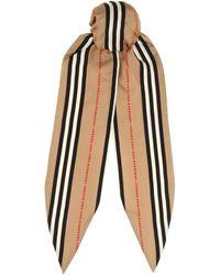Burberry Icon Stripe Silk Scarf - Natural