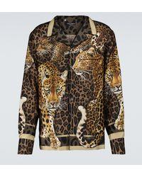 Dolce & Gabbana Bedrucktes Pyjama-Oberteil aus Seide - Braun