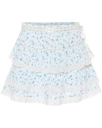 LoveShackFancy Minifalda Bara de algodón floral - Blanco