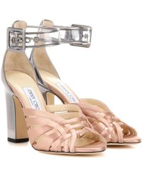Jimmy Choo - Tristen 100 Satin And Leather Sandals - Lyst