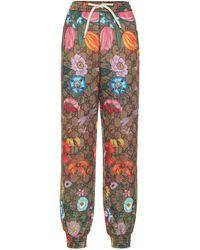 Gucci Gg Supreme & Flora Print Trackpants - Multicolor