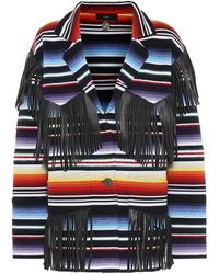 Alanui Sarape Leather-fringed Cardigan - Multicolor