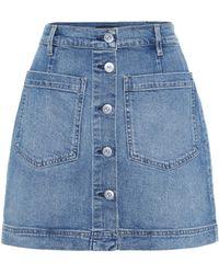 3x1 Minifalda de jeans de tiro alto Rose - Azul