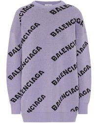 Balenciaga Pullover aus Wolle - Lila