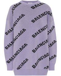 Balenciaga Rundhalsausschnitt mit Allover-Logo - Lila