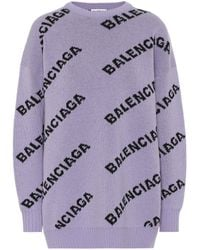 Balenciaga Logo-pattern Stretch-wool Sweater - Purple