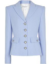 Alessandra Rich Wool-blend Bouclé Jacket - Blue
