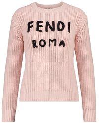 Fendi Pullover in lana con ricamo - Rosa