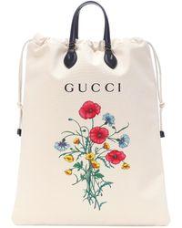 Gucci - Shopper de lona y piel estampado - Lyst