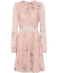 Giambattista Valli Floral Lace-trimmed Silk Crêpe Dress - Pink