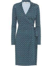 Diane von Furstenberg Jeannie Silk-jersey Knee-length Wrap - Blue