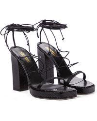 Paris Texas - Carine Snake-effect Leather Sandals - Lyst