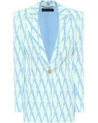 Versace Exklusiv bei Mytheresa – Bedruckter Blazer Virtus aus Cady - Blau