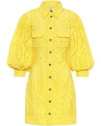Ganni Exclusive To Mytheresa – Cotton Broderie Anglaise Minidress - Yellow