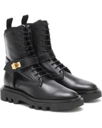 Givenchy Eden Leather Combat Boots - Black